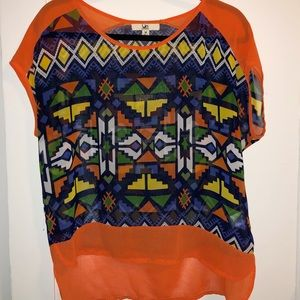 Brightly colored geometric shirt